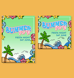 floral blank poster for summer party vector image