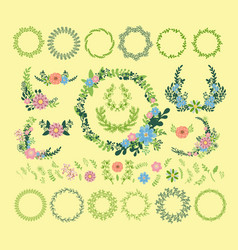 Floral wreath decoration badge vector