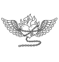 flying heart in chain of loveflaming heart tattoo vector image