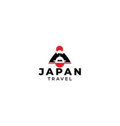 Fuji mountain japan with airplane travel logo vector