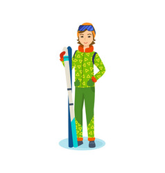 girl in winter clothes of holding ski in hands vector image