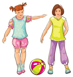 Girls with ball sketch vector image