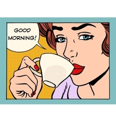 Good morning girl with Cup of coffee vector