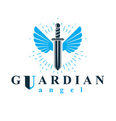 Graphic sword composed with bird wings war vector