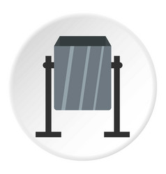 grey metal dust bin icon circle vector image