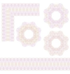 Guilloche rosette and borders vector