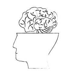 Half head human brain idea concept vector