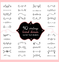 Hand drawn text dividers doodle wedding dividers vector