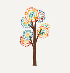 Hand print tree concept for community help vector