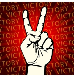 Hand with victory sign vector