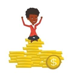 Happy businesswoman sitting on golden coins vector