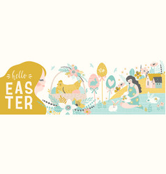 happy easter banner with cute of vector image