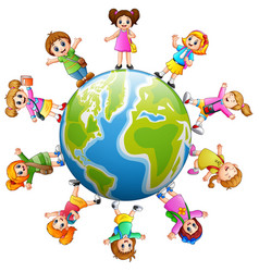 Happy school children standing around the earth vector