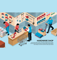 Hardware shop isometric background vector