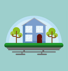 House with trees icon vector