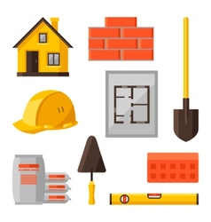 Industrial icon set of housing construction vector image