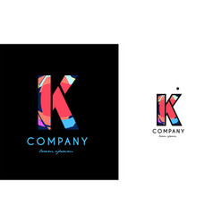 k blue red letter alphabet logo icon design vector image