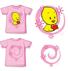 Kid shirt with cute chick printed vector
