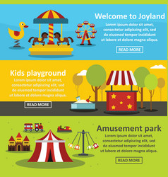kids playground banner horizontal set flat style vector image