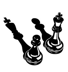 king and a pawn with inverted shadows vector image