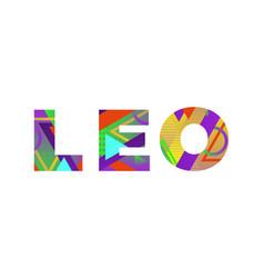Leo concept retro colorful word art vector