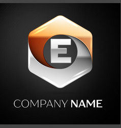 Letter e logo symbol in the colorful hexagonal on vector