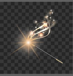 magic wand with magical gold sparkle trail vector image