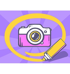 Marker drawing circle around photo camera vector