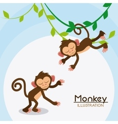 Monkey cartoon animal design vector