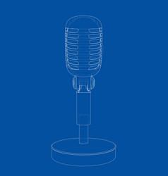 outline vintage microphone vector image