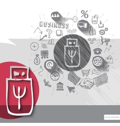Paper and hand drawn flash emblem with icons vector