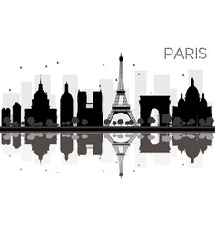 paris city skyline black and white silhouette vector image