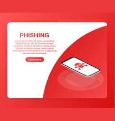 Phishing via internet isometric concept email vector