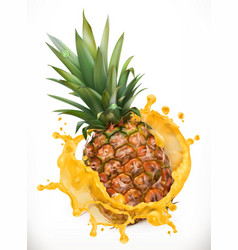 Pineapple juice fresh fruit 3d icon vector