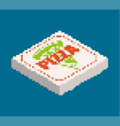 Pizza box pixel art fast food 8 bit old vector