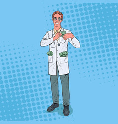 Pop art male corrupt doctor put money into pocket vector