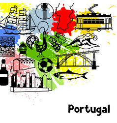 Portugal background design portuguese national vector