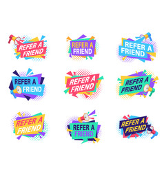 Refer friend badges referral program labels with vector