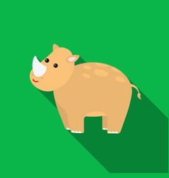 Rhinoceros icon flat singe animal icon from the vector