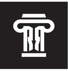 rr logo monogram with pillar style design template vector image