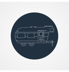 RV camping icon logo and badge Caravan on dark vector
