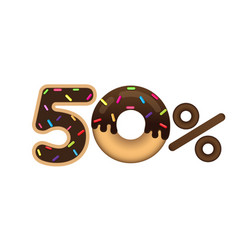 Sale 50 percent and discount price lettering made vector