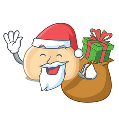 santa with gift chickpeas mascot cartoon style vector image