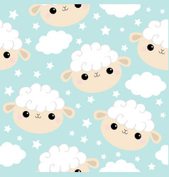 seamless pattern sheep face head icon cloud star vector image