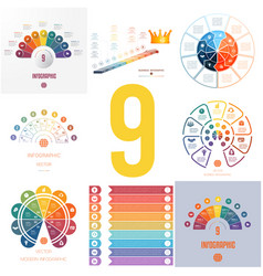Set 8 universal templates elements for vector