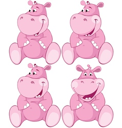 Set of pink hippopotamus first teeth vector