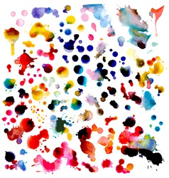 Set of watercolor grunge elements isolated on vector image