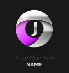 silver letter j logo in the silver-purple circle vector image