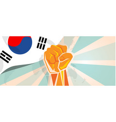 south korea fight and protest independence vector image