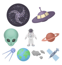 Space set icons in cartoon style big collection vector